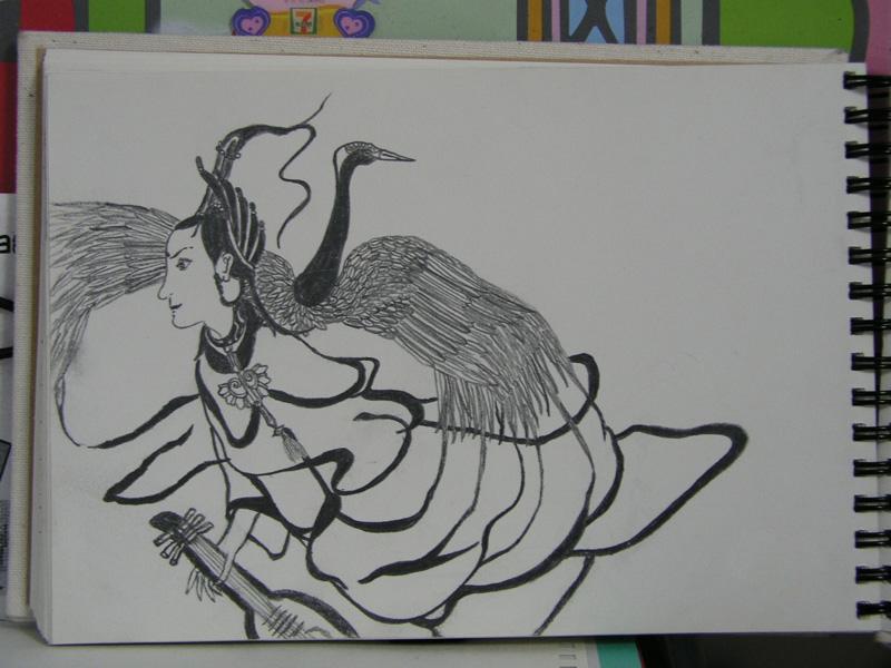 手绘弹琵琶古典美女图片